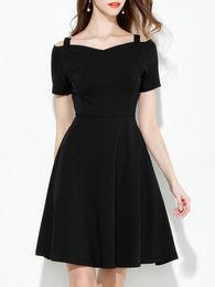Aline veste mangas on-line-zada mulheres plus size vestido cor sólida barra pescoço manga curta vestido de aline