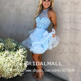 Серые пояса онлайн-Реальный образ! 2020 Голубое платье возвращения на родину с высоким воротом и бисером Раффлед Юбка Мини Маленькое выпускное платье Хрустальный пояс Коктейльные платья