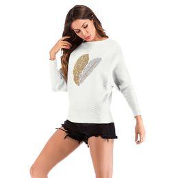 Женщина вязаная одежда дизайн онлайн-2019 новая мода женщин свитер перо горячего бурения дизайн с длинным рукавом трикотажные повседневная одежда верхняя одежда