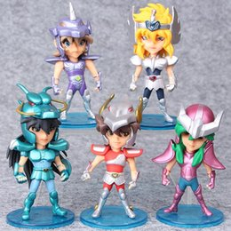 Figure seiya online-Brandnew 5pcs / Set 10 centimetri Seiya Action Figures Cavalieri dei doni dello zodiaco bambola Janpaness Anime Giocattoli Bambini del fumetto di Natale