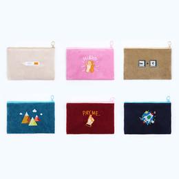 Sacchetto di carta coreano online-Cartone animato donne corduroy portamonete portamonete telefono coreano ragazze sacchetto di denaro piccolo sacchetto di trucco bambini cerniera mini titolare della carta del raccoglitore