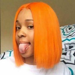 Parrucche arancioni online-Cheap 150% Densità 14 pollici Breve Bob Parrucca anteriore in pizzo Brasiliano Fibra sintetica Parrucca per capelli Colore arancione Parte centrale resistente al calore Cosplay