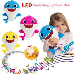 mikrofone kinder großhandel Rabatt 3 farben 30 cm led musik baby shark plüsch toys cartoon gefüllte schöne tier weiche puppen musik shark plüsch puppe party favor 60 stücke