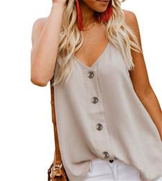 2019 taste cool Frauen-Sommer-T-Shirts kühlen ärmelloses reizvolles V-Ansatz Entwerfer Femmes Hauts geknöpfte Weste-Luxusfrauen-Blusen-Frühlings-Trägershirt-Qualität ab günstig taste cool
