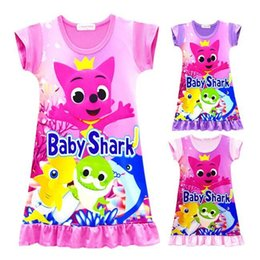 b1a5ff5ac58e0 Girls Baby Shark Dress Kids Cute Cartoon Shark Print Short Sleeve Pajamas  Dresses Summer Skirt Night Clothes Home Clothing CCA11236 30pcs discount  cute ...