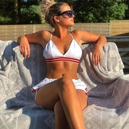 traje de baño tankini deportivo Rebajas Venta caliente Bikinis 2019 Mujer de tres piezas Bikini deportivo Push Up traje de baño separado mayo mujeres traje de baño Mujer Tankini traje de baño