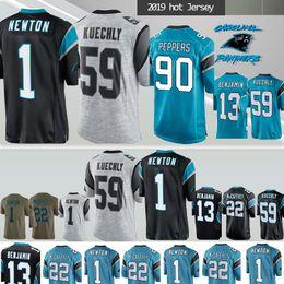 Carolina jersey Panther 1 Newton 22 Cristão McCaffrey 13 Benjamin 59 Kuechly NCAA 90 Camisolas de pimentas 59 Luke mens designer de camisetas cheap panther t shirt de Fornecedores de camisa panther t