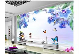2019 orquídeas fotos Atacado-personalizado 3d silk photo mural papel de parede simples azul sonhador borboleta orquídea sala tv fundo adesivo de parede papel de parede orquídeas fotos barato