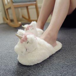 Chaussures peluche jouet pantoufle en Ligne-Kawaii Fluffy Licorne Plush Pantoufles Mignon Doux Animal En Peluche Maison Maison Pantoufles D'hiver pour Enfants Femmes Indoor Chaussures Jouets