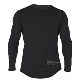 Terno de treinamento de algodão longo on-line-Design de moda Mens Fitnes T-Shirt Dos Homens de Manga Comprida de Algodão de Primavera Slim Fit Tees Terno para a Execução de Treinamento Em Torno Do Pescoço Roupas Casuais