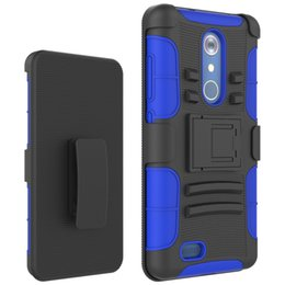 rugged cases belt clip Promo Codes - Dual Layer Protective Hybrid Rugged Case for ZTE Kirk Z968 Max Duo LTE Carry Coolpad Legacy Shockproof Cover Belt Clip Holster