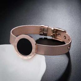 2019 nickel armbänder Römische Ziffern Armband 18 Karat Roségold Elegant Damen Titan Stahl Armreif Nickelfrei, nicht allergisch, nicht leicht anzulaufen