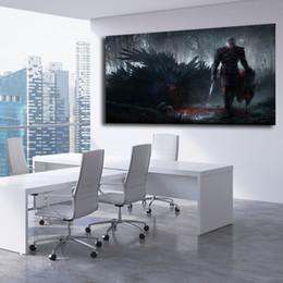 caça pintura a óleo Desconto Witcher 3 Wild Hunt Fantasia Ação Luta Guerreiro Pintura Da Lona Impressão Quarto Home Decor Wall Art Oil Poster Imagem Para Sala de estar