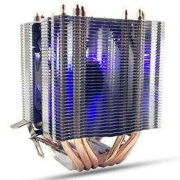 1155 fan online-6X Pipe 4 ventiladores de un solo cable con luz azul Cpu Fan Cpu Disipador de calor para Intel 775/1150/1155/1156/1366 Amd Universal