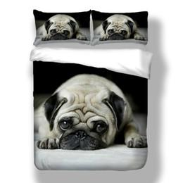3pcs / set 3D Cute Animal Dog Pug Print Biancheria da letto delicato set di biancheria da letto morbida da