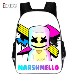 hip hop for kids Coupons - DJ Marshmello Guy School Bag for Teenager Boys and Girls Kids Personized Schoolbag Marshmallow face Smile Hip-hop Funny Backpack