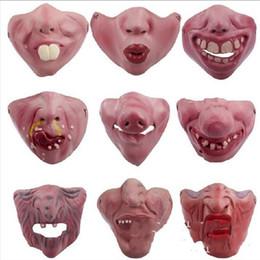maschera di maiale adulta Sconti Halloween Red Lips Pig Mask Divertente Latex Mezza faccia Bambino adulto Confortevole Facepiece Ball Party Decor Prop 4 5jtD1