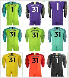 c uniforme Rebajas 2018 2019 Jerseys de fútbol de Blue Moon City de manga larga Camiseta de portero Claudio Bravo # 1 C. Bravo # 31 Ederson Adultos Uniformes Conjuntos de fútbol