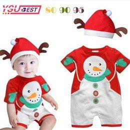 terno de santa 3t Desconto 2019 bebê boneco de neve bonito papai noel natal trajes do bebê macacão + chapéu roupas infantis crianças terno bebê ano novo