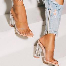 Sexy saltos altos claros on-line-Novas Mulheres Sandálias PVC Geléia de Salto De Cristal Transparente Mulheres Sexy Limpar Salto Alto Sandálias de Verão Bombas Sapatos