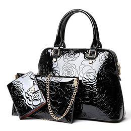 Conjunto de bolsa de peça on-line-Boa qualidade de alta qualidade bolsas de senhoras de couro de patente 3 peça set moda feminina Messenger Bags Tote bolsa marcas famosas embreagem Sac