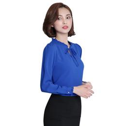 Elegante senhoras blusa stand colar on-line-Mulheres Blusa Manga Longa Gola Arco Blusas Senhoras Elegantes Chiffon Blusa Tops Moda Desgaste do Trabalho de Escritório S-2XL
