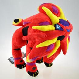27cm puppe online-Entei Kuscheltiere Puppe 10,6 zoll 27 cm Rot Solgaleo Pikachu Plüsch Puppe Kuscheltiere Spielzeug Für Kind Beste Geschenk Großhandel