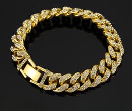 2020 chiodo zirconio cubico Bracciale Hip Hop Bracciale con pendente pieno di diamanti di alta qualità Micro Ciondolo in rame con zirconi cubici Diamond Miami Gold chiodo zirconio cubico economici
