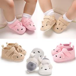 Botas de plástico chicas online-Más nuevo Invierno Bebé Niños Niñas Algodón Lindo Cálido Botas Casuales de Nieve Suela Suave 0-18 M Oso de Dibujos Animados Zapatos de Plástico Poco Favorables