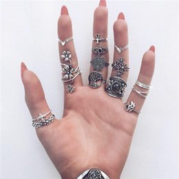 nachahmungsschmuck klingelt Rabatt 20 arten Blatt Stein Midi Ring Sets Vintage Kristall Opal Knöchel Ringe für Frauen Anillos Mujer Schmuck ALXX