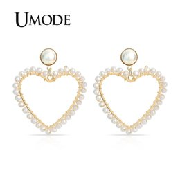Umode ohrringe online-Umode big gold herz ohrringe für frauen koreanischen stil perle baumeln ohrringe hängen partei modeschmuck zubehör eu0503