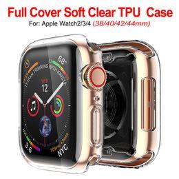 Caso claro de apple watch online-Funda protectora ultra delgada transparente transparente Suave TPU de goma de silicona para Apple Watch Series 4 3 2 1 40mm 44mm 38mm 42mm