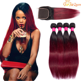 two tone brazilian hair red Promo Codes - Two Tone Burgundy Human Hair Bundles Virgin Peruvian Malaysian Straight Ombre Weaves With Lace Closure 1B 99j Wine Red Colored Extensions