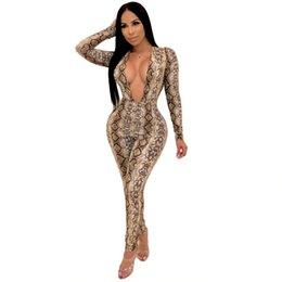 2019 tuniques à la mode Cou V profond Imprimé Serpent Combinaison Sexy Femmes À Manches Longues Skinny Full Bodysuits Pantalon Long Bandage Bodycon Barboteuses Womens Jumpsuit tuniques à la mode pas cher
