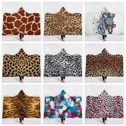 2020 kapuzen kap kinder Leopard Druck Sherpa Hooded Thorw Decke 150 * 130cm 3D Printed Zebra Kids Winter-Plüsch-Kinder-Mantel-Kap-Schal-Sofa Fleece Wrap LJJA3183 günstig kapuzen kap kinder