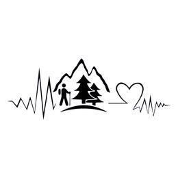 2019 autocollants de casque 7.5 * 20 cm Randonnée Voyage Decal Heartbeat Montagne Decal Moto Casque Vinyle Autocollant Fenêtre Arrière Autocollants De Voiture autocollants de casque pas cher