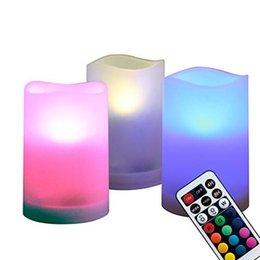 Velas que cambian de color remoto online-WRalwaysLX Velas de pilares sin llama Decorativas para interiores y exteriores, cambio de color LED Parpadeo de velas con control remoto y temporizador