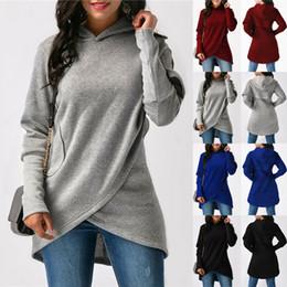 Cappuccio asimmetrico online-4 di colore S-5XL maniche Womens Long asimmetrica Felpa con cappuccio cappuccio Pullover Top Coat Jumper 60.099.911,251724 millions