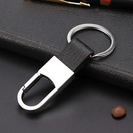 Design de moda Melhor Negócio Mens Presente Prata Metal Chaveiro Chaveiro de Couro Preto Chaveiro com Presente Grátis de
