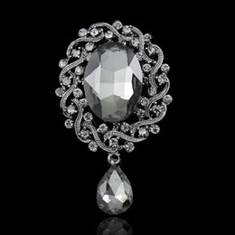 Broches oval on-line-Broches Oval de alta Qualidade Para As Mulheres Strass Cristal Oval Broche Pinos Dropshipping Presentes Para As Mulheres