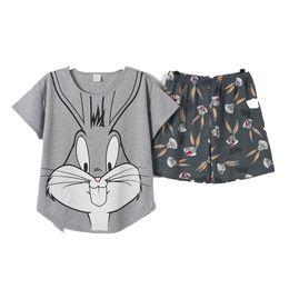 201 * женщины летние пижамы 2 шт. / комплект короткие брюки + с коротким рукавом пижамы наборы хлопок пижамы большие ярды м-XXL мультфильм от