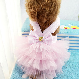 dogs tutu clothes Promo Codes - Lovely stripe Pet Clothes Dog Apparel Puppy Princess Costume Cat Tutu Lace Skirt Dress