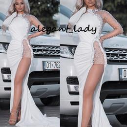 Weißes kleid vestido festa online-2020 hohe Ansatz Abendkleider lange Hülsen-Nixe wulstige Kristall-Seiten-Schlitz-elegante weiße Prom Pageant Kleider vestido de festa
