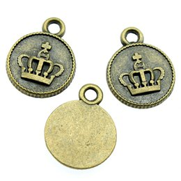 100pcs Charm Crown One Sided Round Crown Tag Pendente di fascini per monili che fanno bronzo antico colore corona Charms 15x19mm da pendenti in bronzo antico fornitori