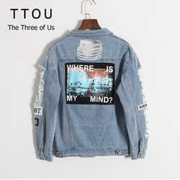 patch bomber women Promo Codes - TTOU Women Version Retro Frayed Embroidery Letter Patch Bomber Jacket Blue Ripped Distressed Denim Jacket Fashion Outwear