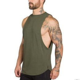 2019 yeni moda spor salonları giyim erkekler için egzersiz atlet vücut geliştirme tank top yuvarlak boyun erkekler spor yelek kas kolsuz gömlek nereden