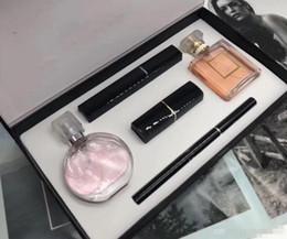 caixas de jogo de rímel Desconto Presente de natal Mais Recente Marca 5 pcs Conjuntos de Maquiagem Perfume Batom Delineador Rímel 5 em 1 Cosméticos Kit Set com Caixa ePacket grátis
