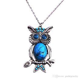 sell statement necklaces Coupons - new Hot sell Statement necklaces National Wind turquoise necklaces retro owl pendant long necklaces free shipping