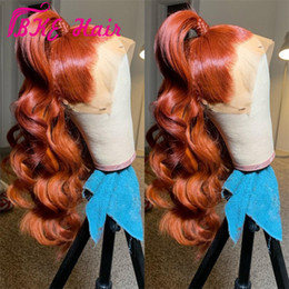 human hair heating Promo Codes - Long Wavy Auburn Orange Color Wigs natural simulation Lace Front human hair Wigs For Women Heat Resistant Glueless Cosplay synthetic Wig