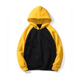 Hoodie a maglia nera online-New Zuolunouba Casual Knitted Fashion Black Yellow Patchwork Pullover Felpe con cappuccio da uomo e donna Felpa con toppe europee